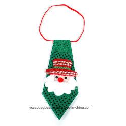 Santa Claus de lentejuelas verdes corbata tela