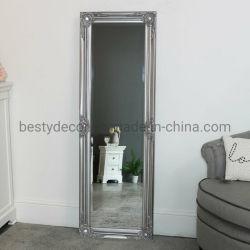 Specchio di scultura di legno diritto d'argento sottile alto pavimento/della parete
