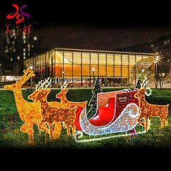 Decorazioni natalizie in 3D con carrozza di renna a LED per esterni
