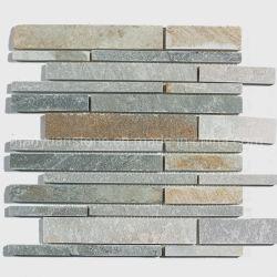 Regardez la bande de briques gris naturel et de la rouille de l'Ardoise mosaïque carrelage mural extérieur