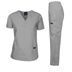 Erwachsen-Unisexdoktor scheuert Krankenpflege-Uniform-Klage-kurze Hülsen-Oberseite u. scheuert elastische Waisted lange Hosen-Unisexlaborkrankenschwester Set