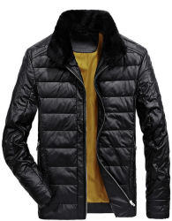2017 горячая продажа зимних провод фиолетового цвета кожи вниз куртка для мужчин