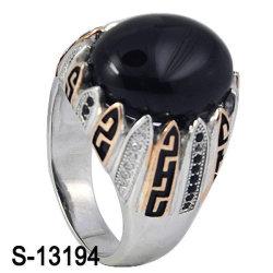 Микро Настройка Silver украшения кольцо с черными Агат (S-13194)