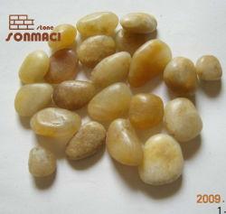 Couleur jaune en pierre polie galet desserré