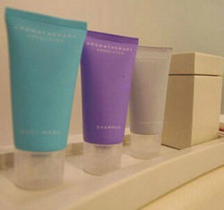 Les commodités offertes hôtel coloré des articles de toilette