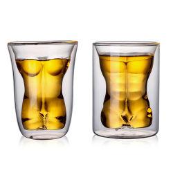 創造的な二重ガラスカクテルグラスのMarchoのコップのローズのコップのアルコール飲料のガラスコップのウィスキーガラスのコップ