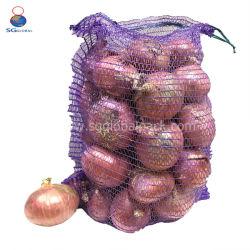 China-Zubehör10kg 25kg Drawstring-PET gestrickter Nettoineinander greifen Raschel Beutel für Verpackungs-Kartoffel und Zwiebeln