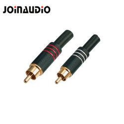 Fiche RCA de métal de haute qualité audio noir Connecteur mâle avec le ressort (R-018)
