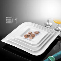 Heißes Verkaufs-Quadrat überzieht Teller-Porzellan-Tafelgeschirr für Hochzeits-Ereignisse
