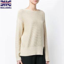 Maglioni allentati del pullover delle donne di misura lavorati a maglia cotone del collo di squadra 100%