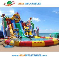 Terrains de sports nautiques à la masse de l'eau gonflable Diapositive parc avec piscine