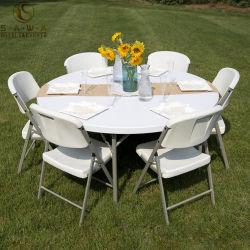 Commerce de gros rond en plastique PP Table pliante pour réception extérieure ou intérieure