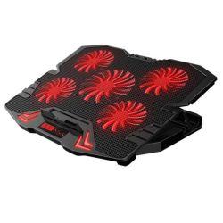 Almohadilla de refrigeración para portátil 5 Fans de hasta 17,3 pulgadas portátil pesadas luces LED azul de refrigerador de 2 puertos USB