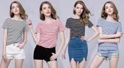 Леди в короткие втулки обычная ткань Yarn-Dyed Tshirt с