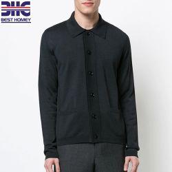 Men's black léger en pure soie bouton portant un collier pullover en tricot Cardigan Pour les hommes