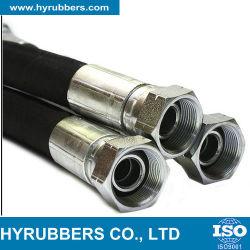 Flexible trenzado de alambre de acero resistente al aceite de la manguera de goma con acoplamientos y accesorios