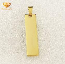Vender a quente de aço inoxidável jóias de prata pendente para colar gold plating pendente de retângulo Spt7226