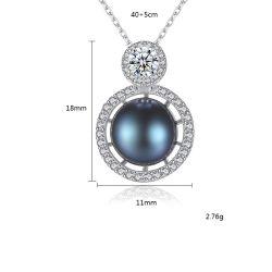Elegante S925 PLATA CZ Crystal colgante collares de perlas de agua dulce