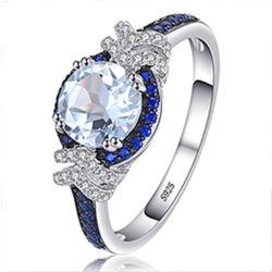 Anel Gemstone topázio azul Sky 925 jóias de prata esterlina para as mulheres por grosso