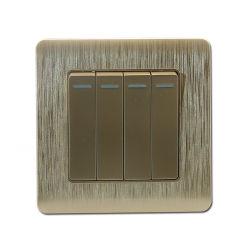 Europa, Estilo 4 pista 1 Forma de interruptor de pared Interruptores de botón pulsador decorativos el interruptor de luz (C20--007)