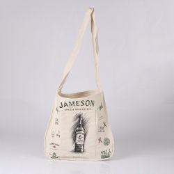 Sacchetto naturale del vino della tela di canapa del cotone della banda lunga, sacchetto personalizzato