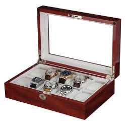 2020 Novo slot 10 Luxo com vidros de relógio de madeira e a chave