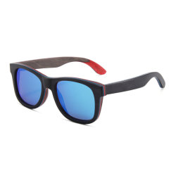 Polarizado Handpolished madera espejo azul gafas de sol Skateboard