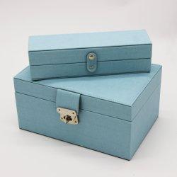 方法女性のためのハイエンド青PUの革宝石類の包装ボックス