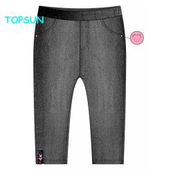 2-12 gli anni di nuove di modo ragazze dei bambini Plain i pantaloni neri dei jeans dei pantaloni del denim con Spandex