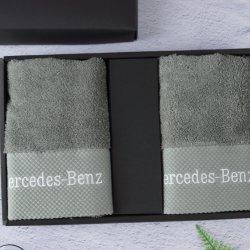 Kundenspezifisches Luxuxmarken-Geschenk-Tuch-graues Schaftmaschine-Tuch fördernd mit Stickerei-Firmenzeichen