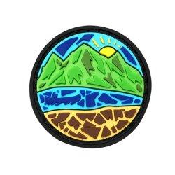 Delgada Línea Azul Logotipo estampado personalizado de PVC blando en 3D y con la etiqueta de parches de goma