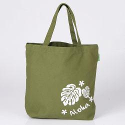 Reutilizáveis portátil Verde limão Cor Lona de Algodão Tote Bags personalizados