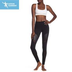 Calças de ioga Colorblock Custom Skinny Ginásio Sport Perneiras com couro