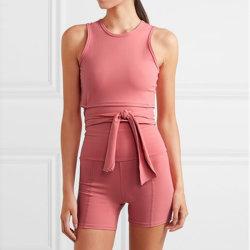 Fournisseur de vêtements sport yoga organiques vêtements soutien-gorge et un pantalon de yoga Yoga Set Tricots vêtements avec des attaches à la taille
