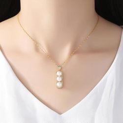 Blanc d'eau douce collier de perles Bijoux en argent sterling pour les femmes