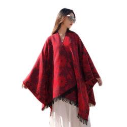 빨간 꽃 자카드 직물에 의하여 뜨개질을 하는 아크릴 숄 스카프