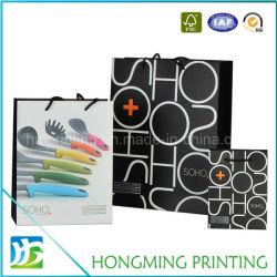 L'abitudine bianca all'ingrosso ha stampato il sacco di carta impaccante nero del regalo dell'elemento portante di lusso del Tote con la stampa di marchio per acquisto