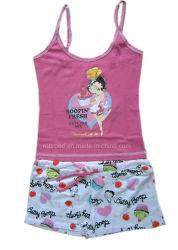 100% algodón niñas pijamas camiseta sin mangas de la parte superior de cortometrajes de los niños se desgasta Aop bebé viste viste del sueño