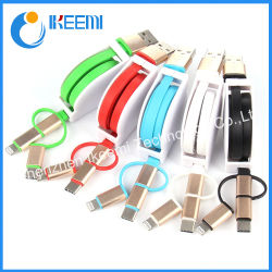 Multi cavo 3 ritrattabili del caricatore del USB in 1 cavo ritrattabile di carico multiplo del USB di tiro laterale del cavo uno