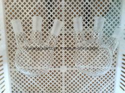 De gran tamaño personalizado tres cuellos Matraz cónico cuarzo
