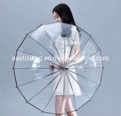 عرض هدية سعر تنافسي بو بلاستيك بلاك تريم 16 ريبس مظلة شفافة للصين المصنعين