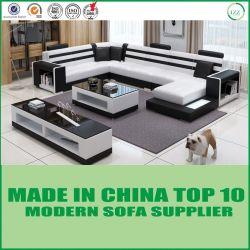 Домашняя мебель гостиной U форма кожаный диван