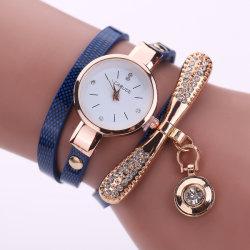 Femmes en cuir Rhinestone montre à quartz analogique Bracelet Watch Fashion Accesoires Idée de cadeau parfait ESG13629