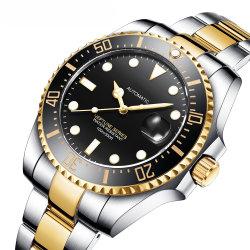 Luminoso personalizado 50m luxo impermeável de movimento mecânico dos homens relógio de pulso automático