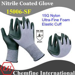 Нейлоновые вязаные рукавицы с Ultra-Fine нитриловые пена покрытие и эластичные манжеты