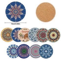 De aangepaste Absorberende, Ceramische Steen van Onderleggers voor glazen, Onderleggers voor glazen Boho met Cork Steun