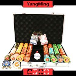 賭けるゲームのためのアルミニウム箱が付いている賭けるテキサスの火かき棒のチップセット11.5gの粘土のカジノチップ