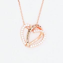 Novo modelo de jóias de 925 Sterling Silver Zircónia cúbicos pendente de coração para as mulheres