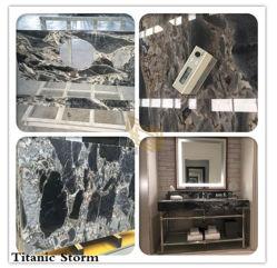 Tempête multicolore poli Titanic en marbre noir/blanc/gris pierre pour la cuisine/salle de bains en marbre/mur/Flooring/étape/Tile/gaine optique