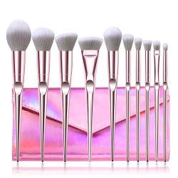 rosafarbene synthetische Kosmetik-Pinsel-Augenschminke-Basis-erröten mischengesichts-Puder-Form des Haar-10PCS Lippenverfassungs-Pinsel-Set